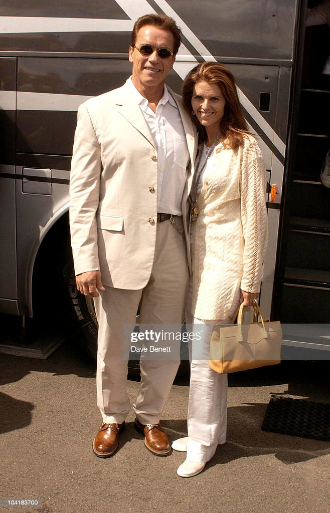 Arnold Schwarzenegger And Wife Maria Schriver, Celebrities In The Paddock At The British Grand Prix 2003 At Silverstone