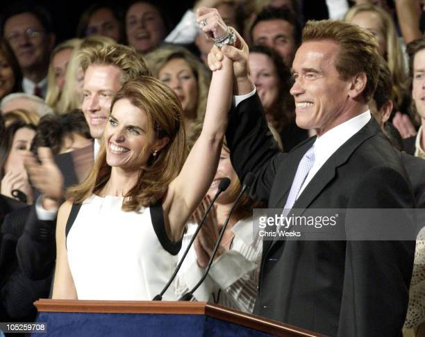 Arnold Schwarzenegger and wife Maria Shriver celebrate victory in the recall election