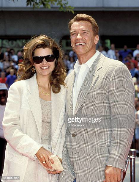 Arnold Schwarzenegger and wife Maria Shriver during Arnold Schwarzenegger Footprint Ceremony at Mann's Chinese Theater in Hollywood, California,...