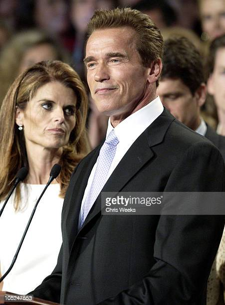 Arnold Schwarzenegger and wife Maria Shriver on election night