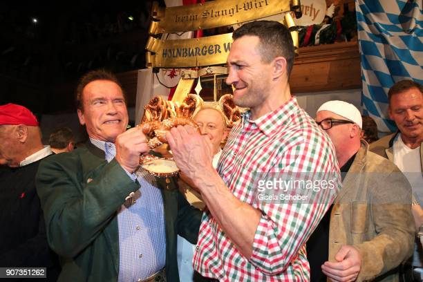 Arnold Schwarzenegger and Wladimir Klitschko during the 27th Weisswurstparty at Hotel Stanglwirt on January 19 2018 in Going near Kitzbuehel Austria