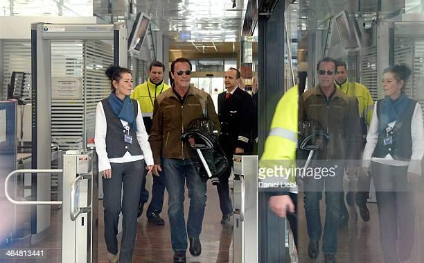 Arnold Schwarzenegger arrives at Innsbruck airport on Janurary 24 2014 at Innsbruck Austria