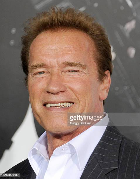 Arnold Schwarzenegger arrives at Los Angeles premiere of 'The Expendables 2' at Grauman's Chinese Theatre on August 15 2012 in Hollywood California