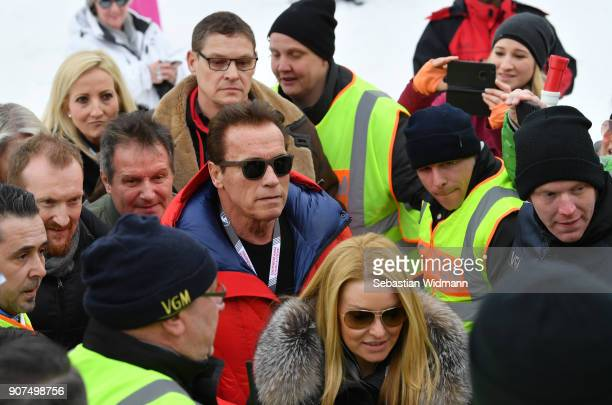 Arnold Schwarzenegger arrives at the Hahnenkamm race on January 20 2018 in Kitzbuehel Austria
