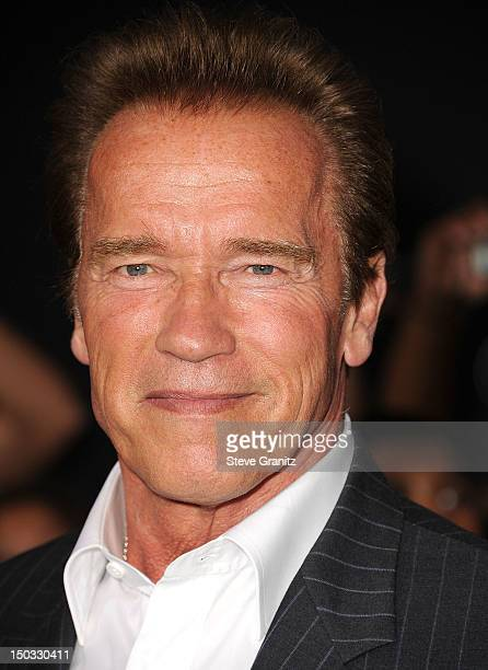 Arnold Schwarzenegger arrives at the 'The Expendables 2' Los Angeles Premiere at Grauman's Chinese Theatre on August 15 2012 in Hollywood California