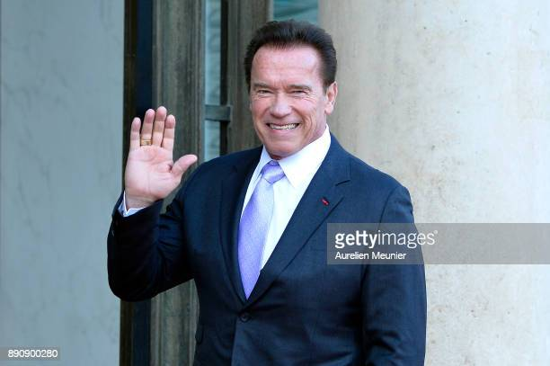 Arnold Schwarzenegger arrives for a meeting with French President Emmanuel Macron as he receives the One Planet Summit's international leaders at...
