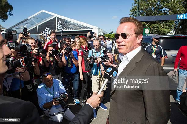 Arnold Schwarzenegger arrives for race day at the 2015 Australian Formula 1 Grand Prix on March 15 2015 in Melbourne Australia Chris Putnam /...