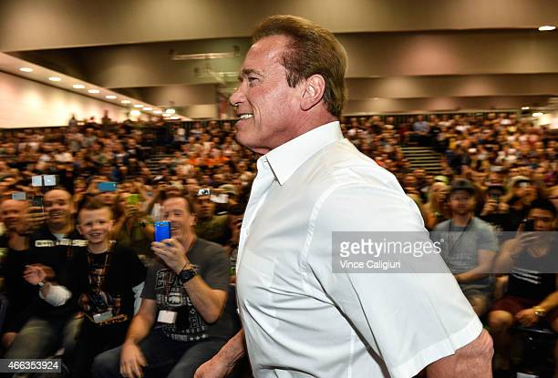 Arnold Schwarzenegger arrives to speak to guests at the Arnold Classic at The Melbourne Convention and Exhibition Centre on March 15 2015 in...