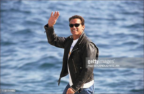 Arnold Schwarzenegger at Cannes Film Festival in Cannes, France on May 12, 1991.