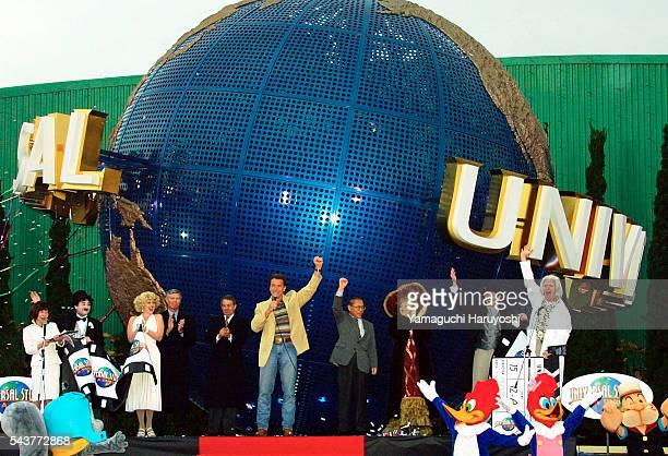 Arnold Schwarzenegger at the grand opening ceremony of Universal Studios Japan theme park in Osaka