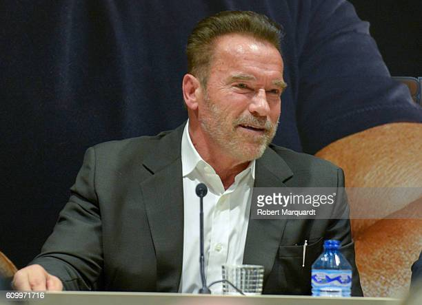 Arnold Schwarzenegger attends a press conference during the Arnold Classic Europe 2016 on September 23 2016 in Barcelona Spain