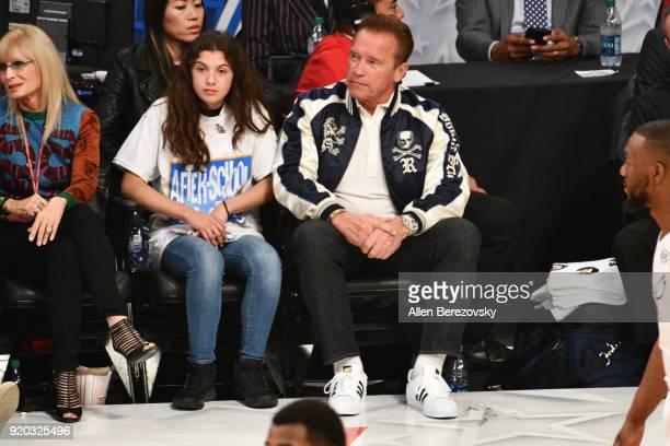 Arnold Schwarzenegger attends The 67th NBA AllStar Game Team LeBron Vs Team Stephen at Staples Center on February 18 2018 in Los Angeles California