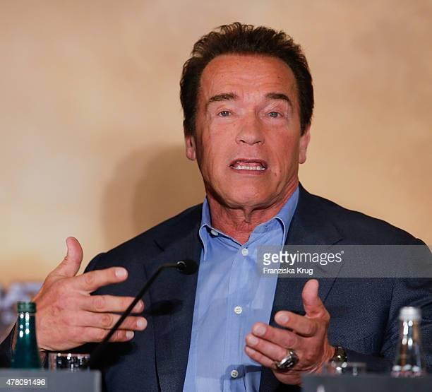 Arnold Schwarzenegger attends the international press conference of 'Terminator Genisys' on June 22 2015 in Berlin Germany