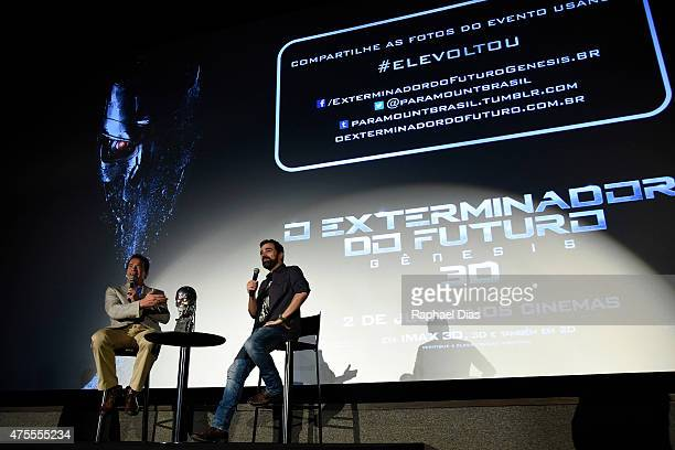 Arnold Schwarzenegger attends the Latin American Fan Screening of Paramount Pictures 'Terminator Genisys' at theSao Luiz Movie Theater on June 1 2015...