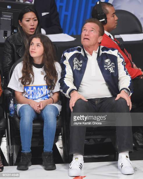 Arnold Schwarzenegger attends the NBA AllStar Game 2018 at Staples Center on February 18 2018 in Los Angeles California