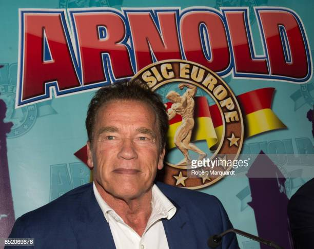 Arnold Schwarzenegger attends the press conference for the Arnold Classic Europe 2017 held at the Barcelona Fira 2 on September 22 2017 in Barcelona...