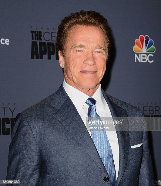 Arnold Schwarzenegger attends the press junket For NBC's 'Celebrity Apprentice' at The Fairmont Miramar Hotel Bungalows on January 28 2016 in Santa...