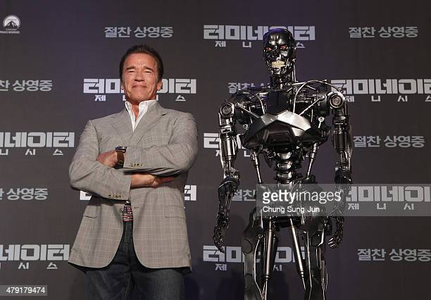 Arnold Schwarzenegger attends the Seoul Press Conference of Terminator Genisys at the Ritz Carlton Hotel on July 2 2015 in Seoul South Korea