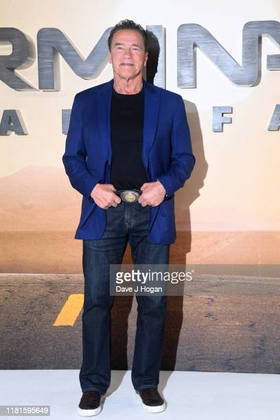 "Arnold Schwarzenegger attends the ""Terminator: Dark Fate"" photocall on October 17, 2019 in London, England."