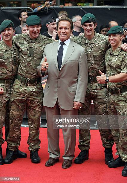 Arnold Schwarzenegger attends the UK film premiere of The Expendables 2 on August 13 2012 in London United Kingdom