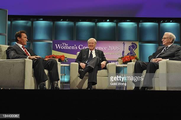 Arnold Schwarzenegger Chris Matthews and Warren Buffett attend The 2008 Women's Conference on October 22 2008 in Long Beach California