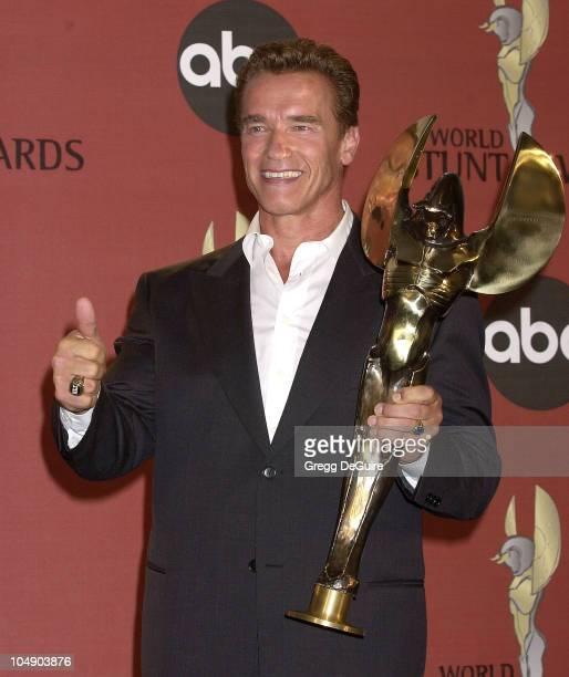 Arnold Schwarzenegger during 1st Annual World Stunt Awards at Barker Hanger in Santa Monica California United States