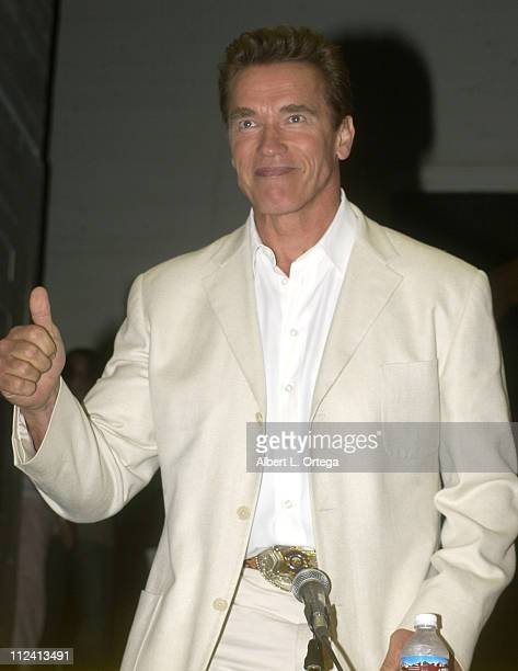 Arnold Schwarzenegger during The Los Angeles Comic Book and Science Fiction Convention Presents Terminator 3 The Rise Of The Machines at The Shrine...