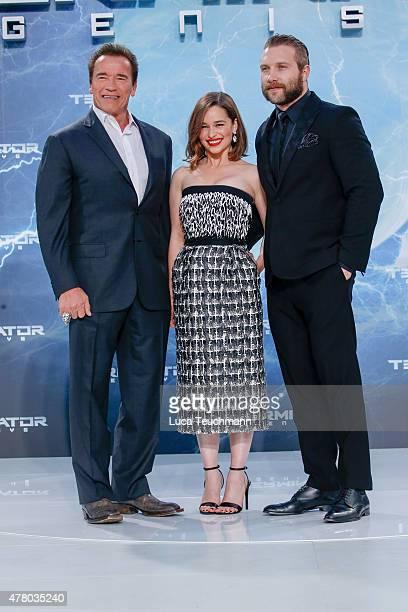 Arnold Schwarzenegger Emilia Clarke and Jai Courtney arrives at the European Premiere of 'Terminator Genisys' at the CineStar Sony Center on June 21...