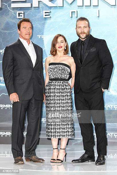Arnold Schwarzenegger Emilia Clarke and Jai Courtney attend the European Premiere of 'Terminator Genisys' at the CineStar Sony Center on June 21 2015...