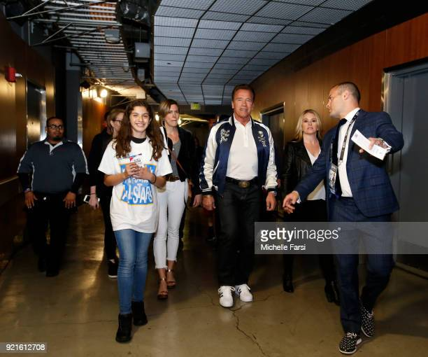 Arnold Schwarzenegger enters the arena before the NBA AllStar Game as a part of 2018 NBA AllStar Weekend at STAPLES Center on February 18 2018 in Los...