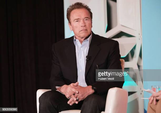 Arnold Schwarzenegger Former Governor of California speaks onstage at Arnold Schwarzenegger Joins POLITICO's Off Message during SXSW on March 11 2018...