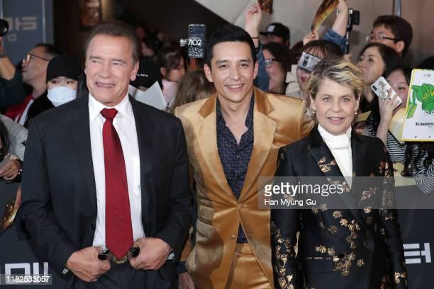 Arnold Schwarzenegger Gabriel Luna and Linda Hamilton attend the Seoul premiere of 'Terminator Dark Fate' on October 21 2019 in Seoul South Korea The...