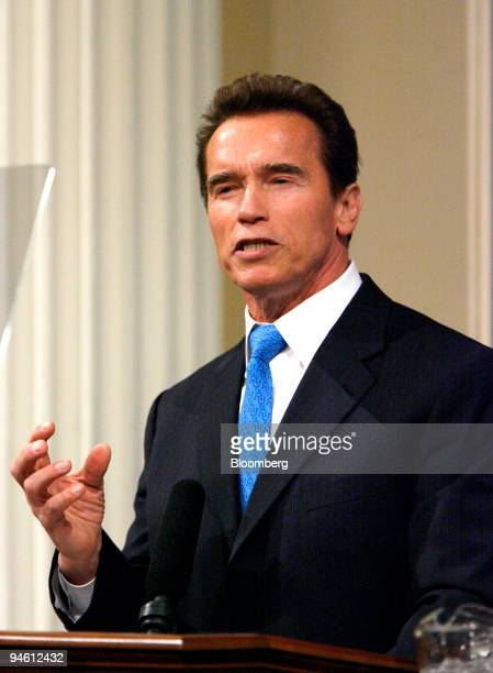 Arnold Schwarzenegger governor of California gives the annual State of the State Address in Sacramento California US on Tuesday Jan 8 2008...