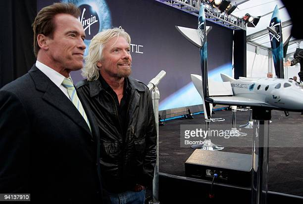 Arnold Schwarzenegger governor of California left and Richard Branson chairman of Virgin Group Ltd address the media during the unveiling of the...