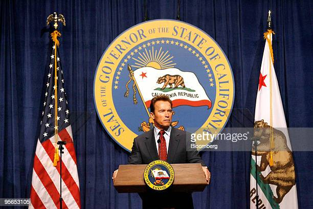 Arnold Schwarzenegger governor of California speaks about his budget proposal for the 20102011 fiscal year in Sacramento California US on Friday Jan...