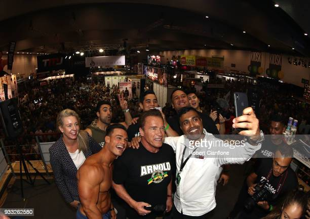 Arnold Schwarzenegger greets fans during the Arnold Sports Festival Australia at The Melbourne Convention and Exhibition Centre on March 18 2018 in...