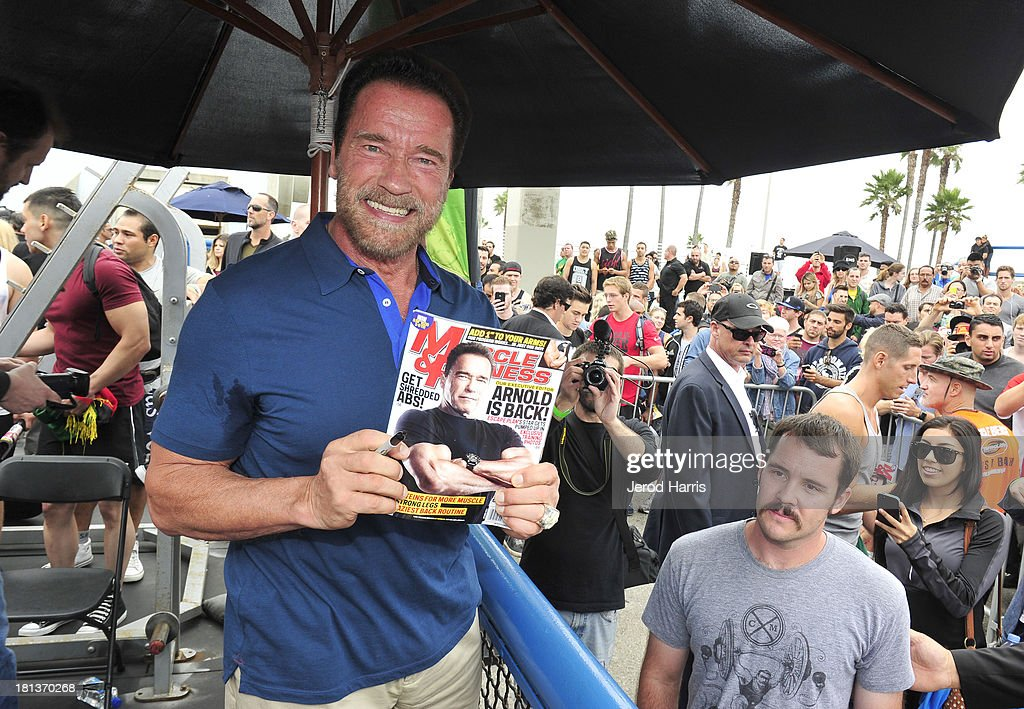 Arnold Schwarzenegger hosts a special body building experience at the famed Muscle Beach Venice to celebrate the launch of the Arnold Series, an exclusive line of new nutritional supplements developed by Schwarzenegger and MusclePharm on September 20, 2013 in Venice, California.