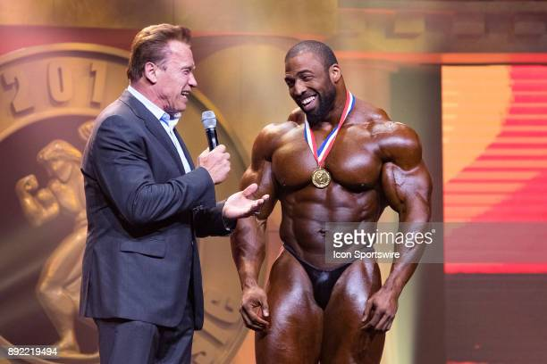 Arnold Schwarzenegger interviews Cedric McMillan after McMillan won the Arnold Classic as part of the Arnold Sports Festival on March 4 at the...