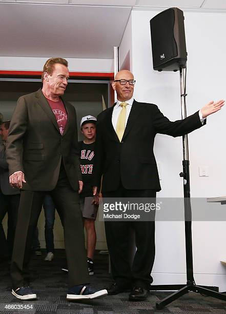 Arnold Schwarzenegger is introduced by Max Markson speaks to media during the Arnold Classic press conference at The Melbourne Convention and...