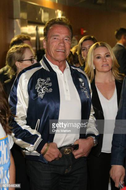 Arnold Schwarzenegger is seen during the NBA AllStar Game as a part of 2018 NBA AllStar Weekend at STAPLES Center on February 18 2018 in Los Angeles...