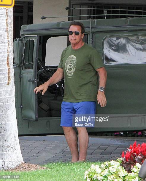Arnold Schwarzenegger is seen in Santa Monica on August 02 2015 in Los Angeles California