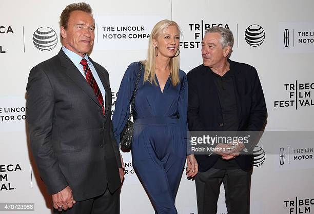 Arnold Schwarzenegger Joely Richardson and Tribeca Film Festival Cofounder Robert De Niro attend the premiere of 'Maggie' during the 2015 Tribeca...