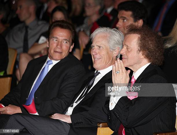 Arnold Schwarzenegger Keith Morrison Lou Ferrigno and Richard Simmons attend the godfather of fitness Jack LaLanne's Celebration of Life memorial...