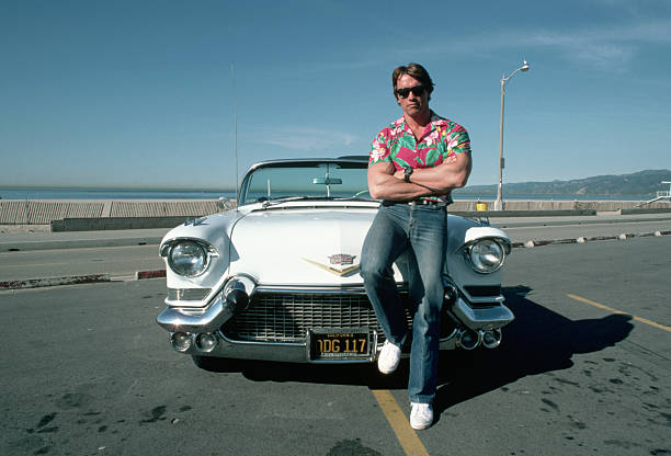 Arnold schwarzenegger and a vintage cadillac convertible pictures arnold schwarzenegger leans against the trunk of a white cadillac convertible from the 1950s parked in voltagebd Image collections