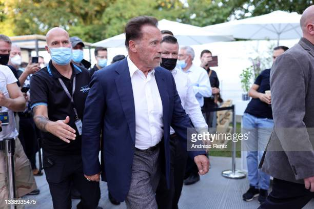 Arnold Schwarzenegger leaves after his keynote about digital sustainability during the Digital X event on September 07, 2021 in Cologne, Germany....