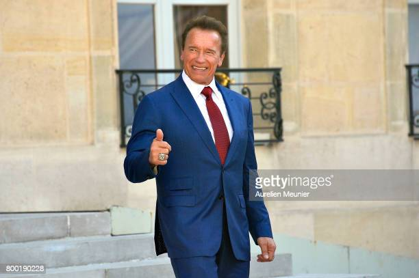 Arnold Schwarzenegger leaves after meeting French President Emmanuel Macron at the Elysee Palace on June 23 2017 in Paris France On their agenda was...