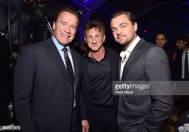 Arnold Schwarzenegger Leonardo DiCaprio and Sean Penn attend the 7th Annual Sean Penn Friends HAITI RISING Gala benefiting J/P Haitian Relief...