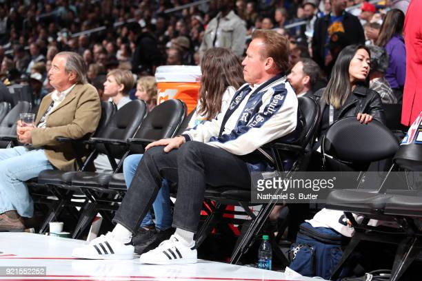 Arnold Schwarzenegger looks on during the NBA AllStar Game as a part of 2018 NBA AllStar Weekend at STAPLES Center on February 18 2018 in Los Angeles...