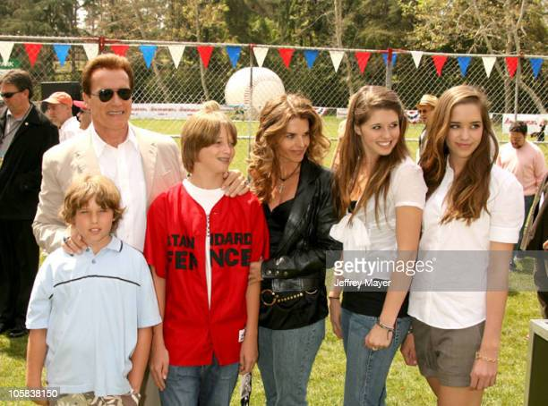 Arnold Schwarzenegger Maria Shriver and family during The Benchwarmers Los Angeles Premiere Arrivals and Baseball Game at Sunset Canyon Recreation...