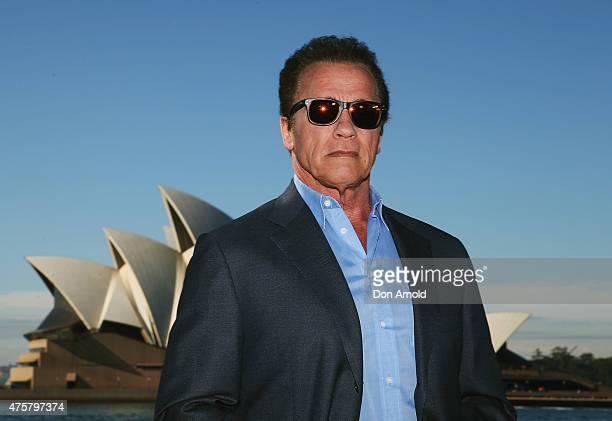 Arnold Schwarzenegger poses during a 'Terminator Genisys' photo call at the Park Hyatt Sydney on June 4 2015 in Sydney Australia